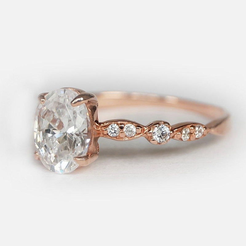 1.40 Carats 14k Solid Rose Gold White Topaz Engagement Ring - SOVATS