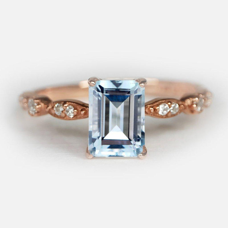 1.50 Carats 14k Solid Rose Gold Aquamarine Engagement Ring - SOVATS