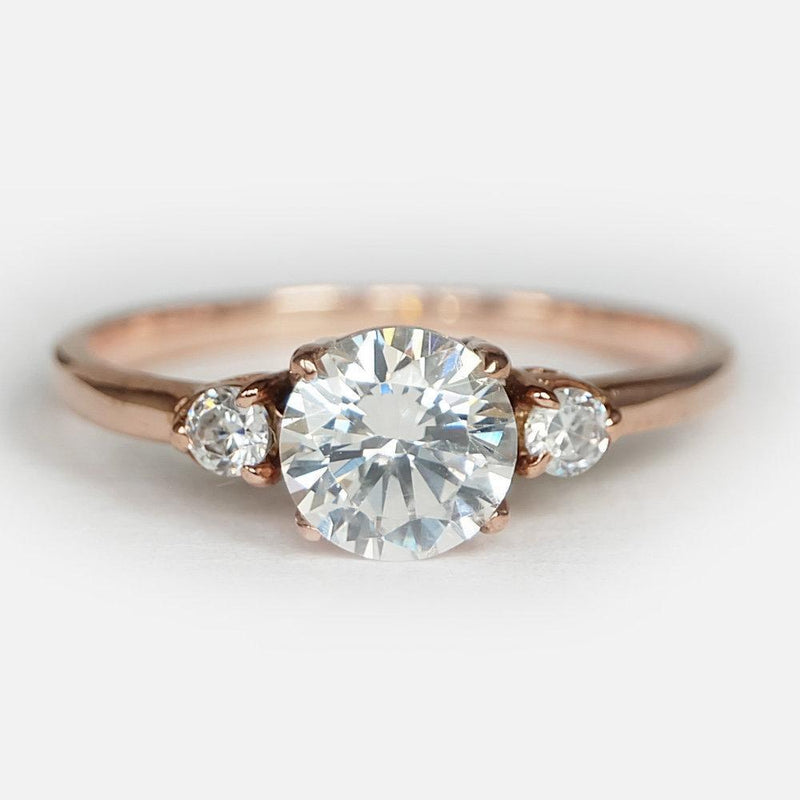 1.50 Carats 14k Solid Rose Gold White Topaz Engagement Ring - SOVATS