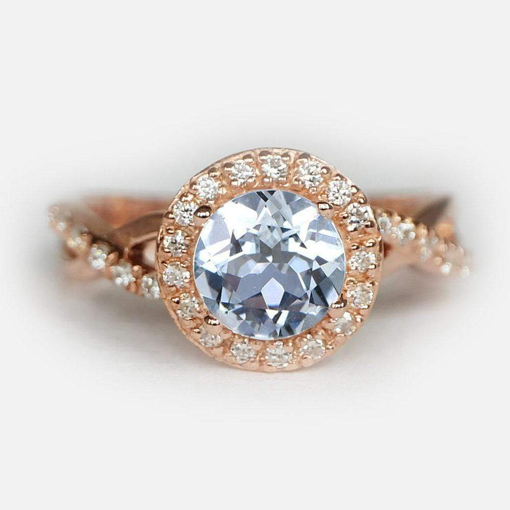 1.60 Carats 14k Solid Rose Gold Aquamarine Engagement Ring - SOVATS