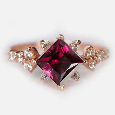 0.60 Carats 14k Solid Rose Gold Rhodolite Engagement Ring