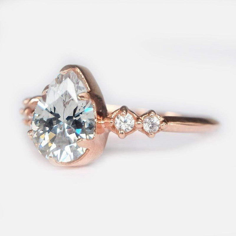 1.60 Carats 14k Solid Rose Gold White Topaz Engagement Ring - SOVATS