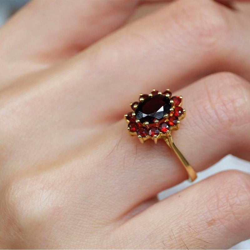 1.70 Carats 14k Solid Gold Garnet Engagement Ring - SOVATS