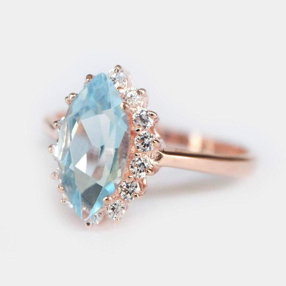 1.80 Carats 14k Solid Rose Gold Blue Topaz Engagement Ring - SOVATS
