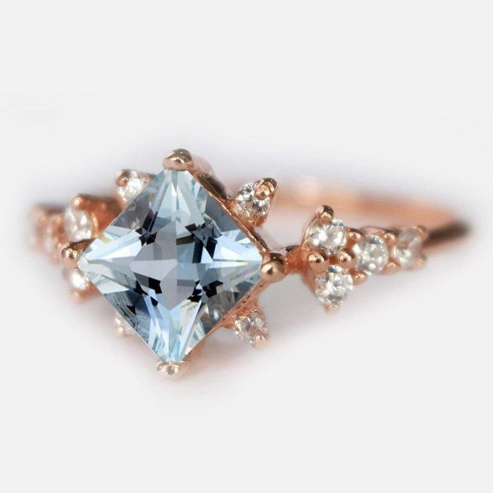 1 Carats 14k Solid Rose Gold Aquamarine Engagement Ring - SOVATS