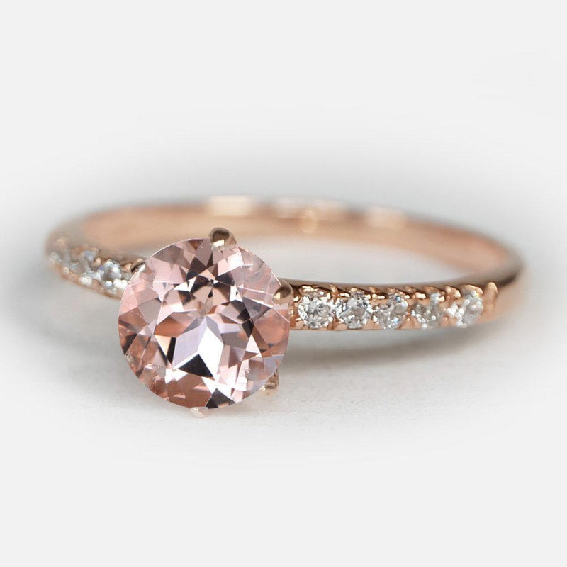 1 Carats 14k Solid Rose Gold Morganite Engagement Ring - SOVATS