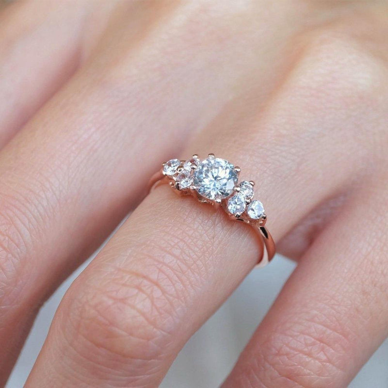 1 Carats 14k Solid Rose Gold White Topaz Engagement Ring - SOVATS