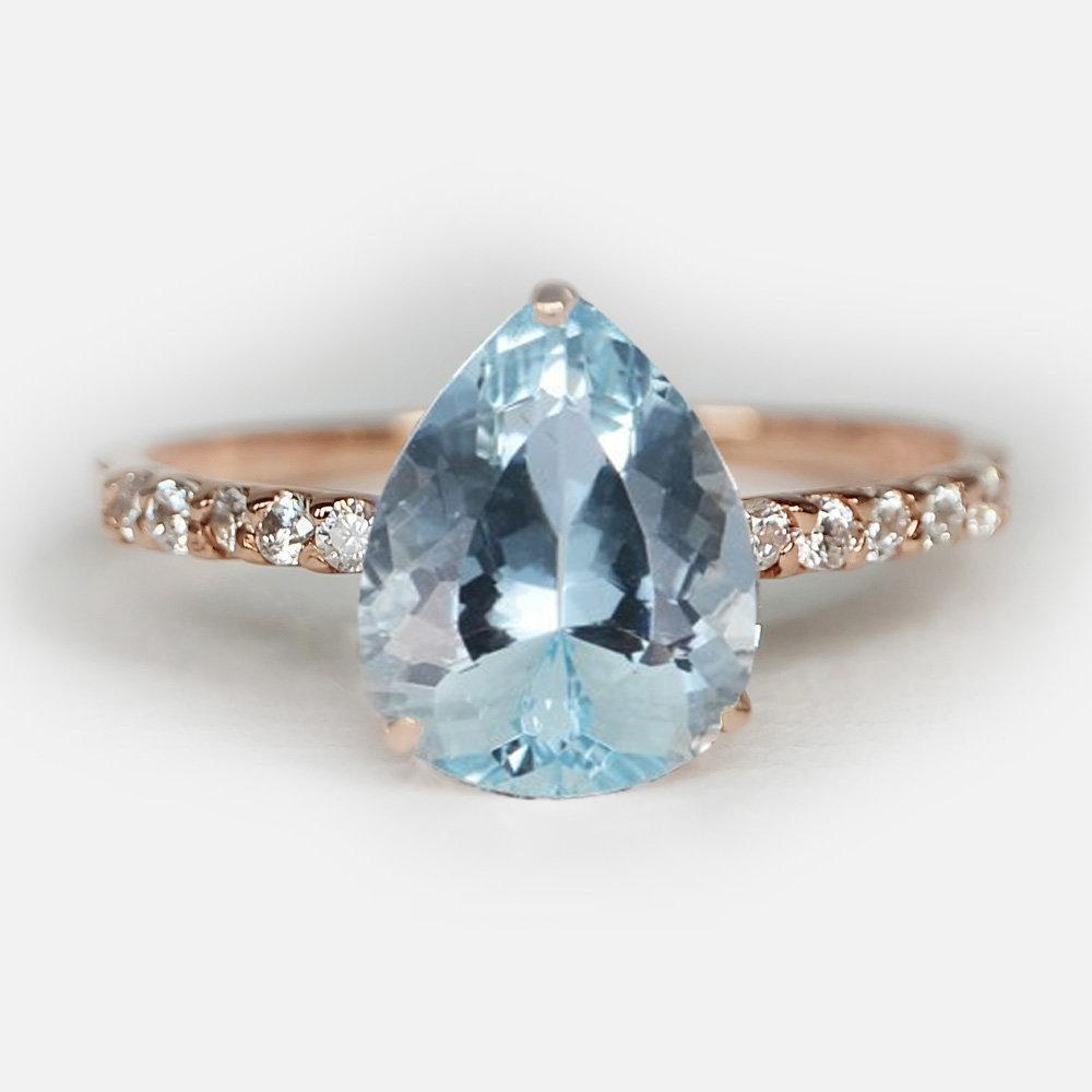 2.10 Carats 14k Solid Rose Gold Aquamarine Engagement Ring - SOVATS