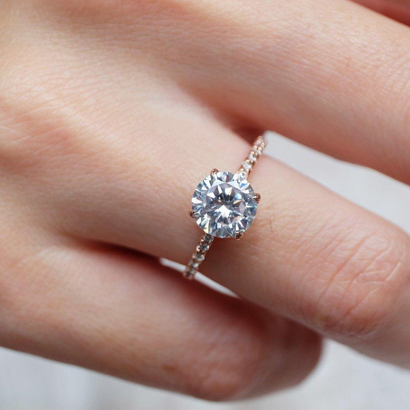 2.10 Carats 14k Solid Rose Gold White Topaz Engagement Ring - SOVATS