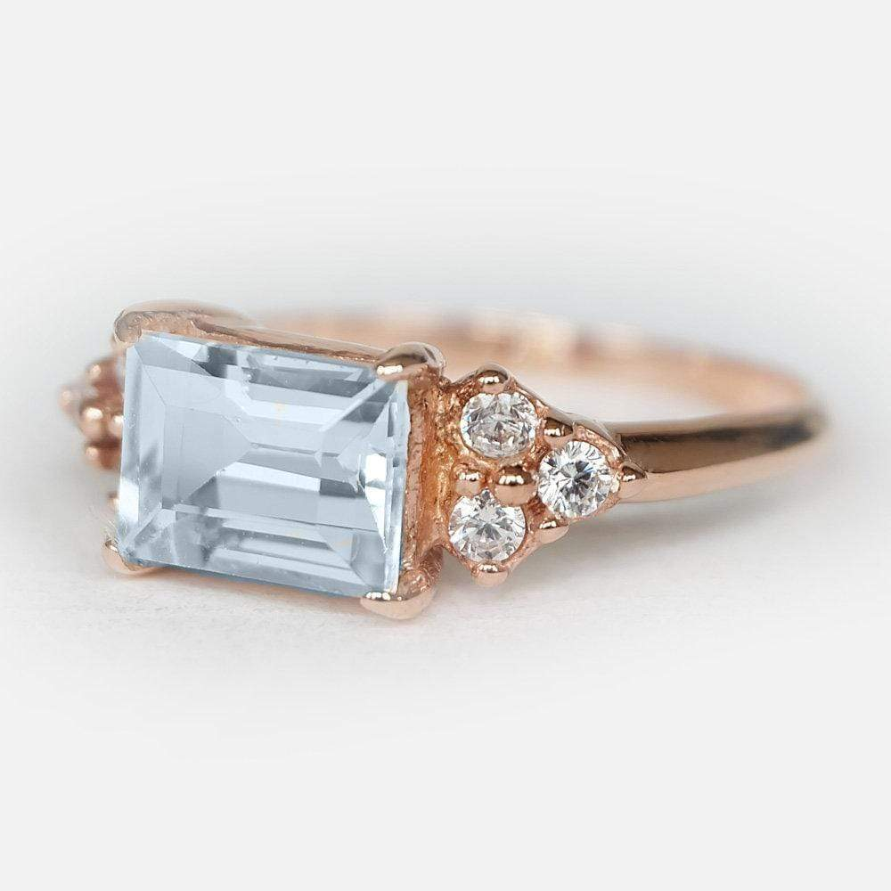 2.20 Carats 14k Solid Rose Gold Aquamarine Engagement Ring - SOVATS