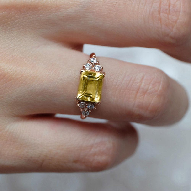 2.20 Carats 14k Solid Rose Gold Citrine Engagement Ring - SOVATS