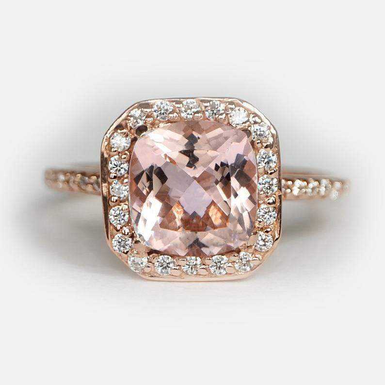 2.50 Carats 14k Solid Rose Gold Morganite Engagement Ring - SOVATS