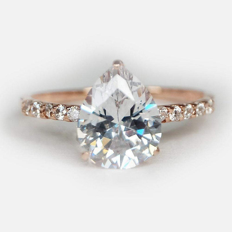 2.70 Carats 14k Solid Rose Gold White Topaz Engagement Ring - SOVATS