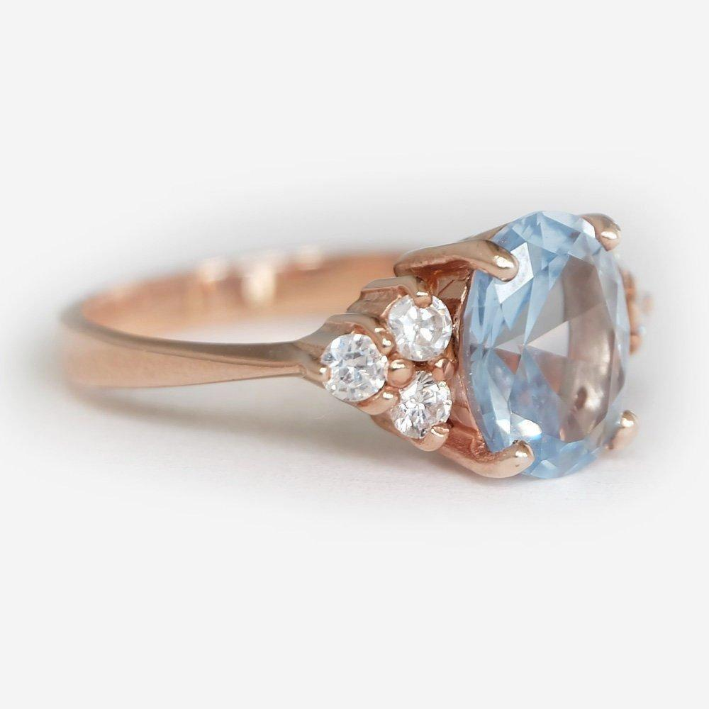 2.90 Carats 14k Solid Rose Gold Blue Topaz Engagement Ring - SOVATS