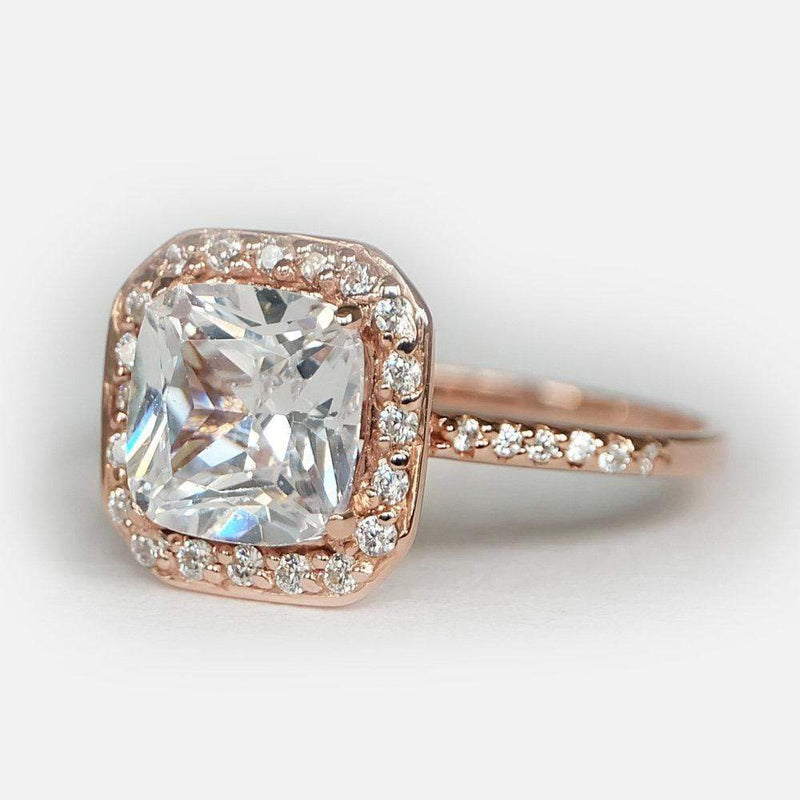 2.90 Carats 14k Solid Rose Gold White Topaz Engagement Ring - SOVATS