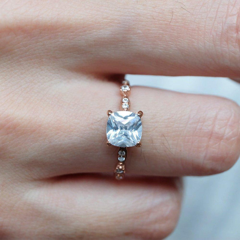 2 Carats 14k Solid Rose Gold White Topaz Engagement Ring - SOVATS