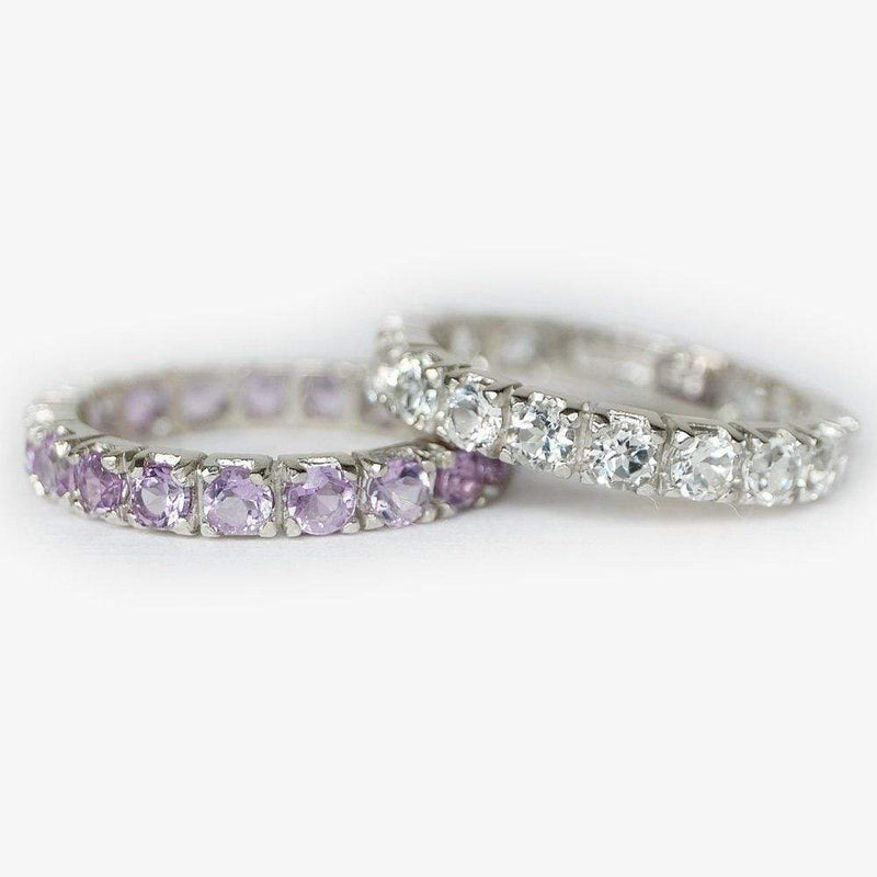 2 Carats 14k Solid White Gold Amethyst Eternity Engagement Ring - SOVATS