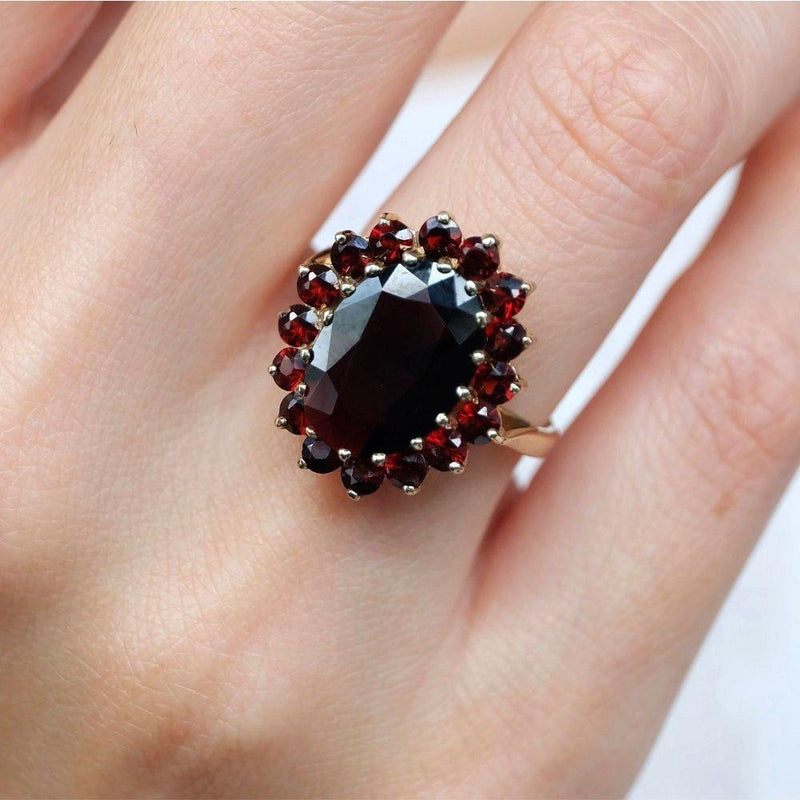 7.50 Carats 14k Solid Gold Garnet Engagement Ring - SOVATS