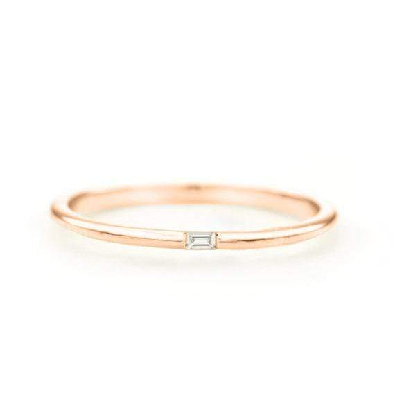 Baguette Diamond Ring (14k Rose Gold) - SOVATS