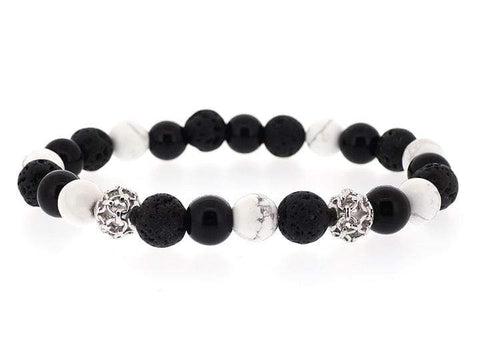 COMBINATION OF TIGER EYE, LAVA AND ONYX POWER BRACELET WITH SILVER CHARM