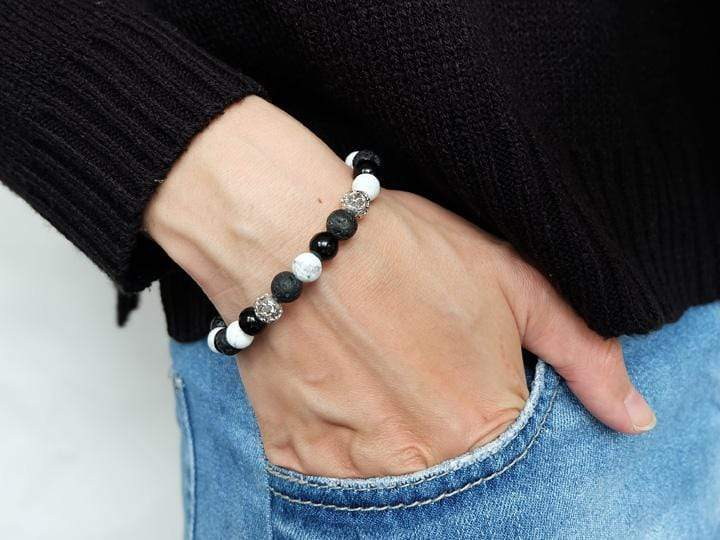COMBINATION OF HOWLITE, ONYX AND LAVA POWER BRACELET WITH SILVER CHARM - SOVATS