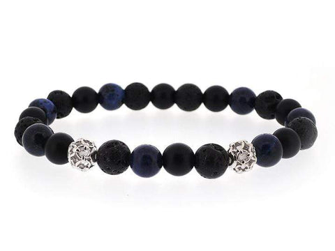 COMBINATION OF HOWLITE, ONYX AND LAVA POWER BRACELET WITH SILVER CHARM