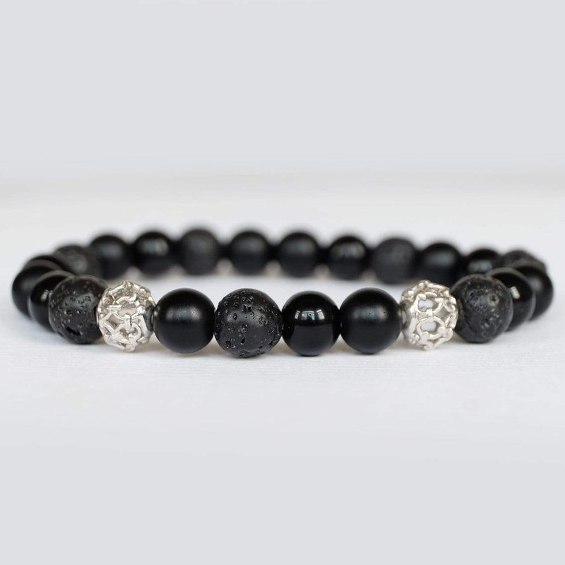 COMBINATION OF ONYX AND LAVA POWER BRACELET WITH SILVER CHARM - SOVATS