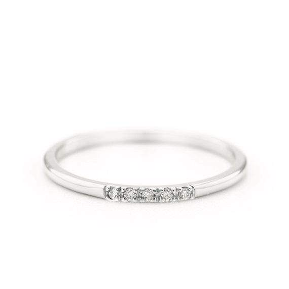 Diamond Band Ring (14k White Gold) - SOVATS
