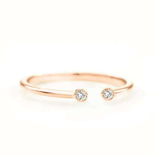 SOVATS GOLD Diamond Dot Cuff Ring (14k Rose Gold)