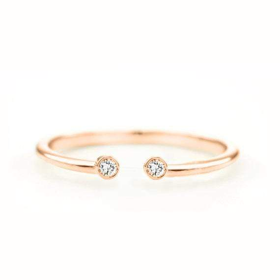 Diamond Dot Cuff Ring (14k Rose Gold) - SOVATS