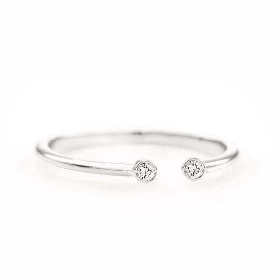 Diamond Dot Cuff Ring (14k White Gold) - SOVATS