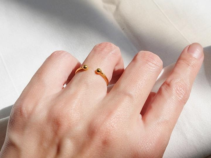 SOVATS GOLD Double Dot Cuff Ring (14k Rose Gold)