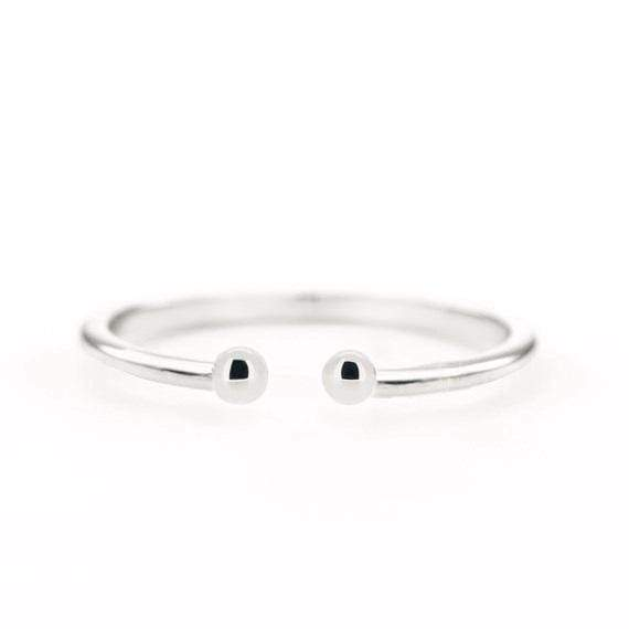 SOVATS GOLD Double Dot Cuff Ring (14k White Gold)