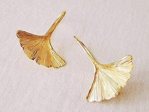 GINKGO LEAF VERMEIL YELLOW GOLD EARRINGS - SOVATS