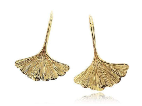 SOVATS EARRING GINKGO LEAF VERMEIL YELLOW GOLD EARRINGS