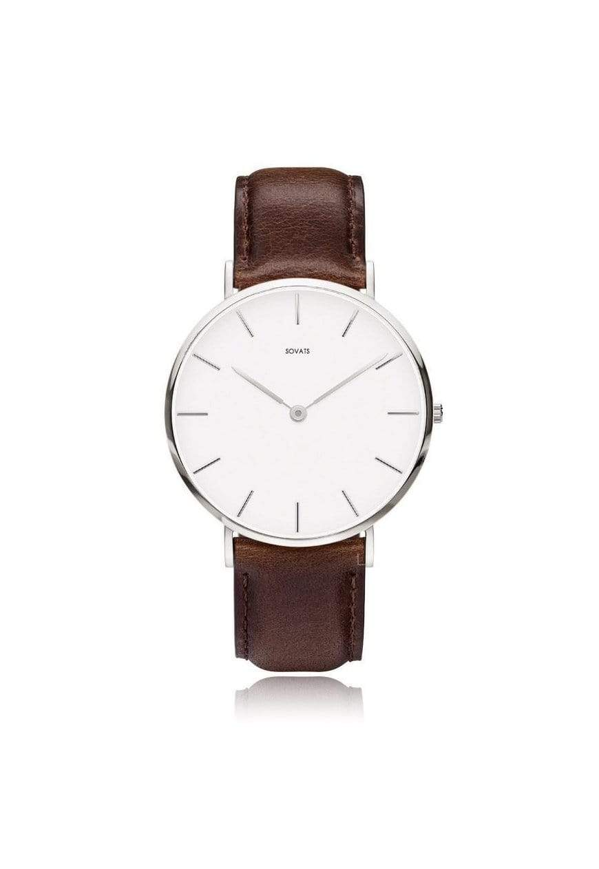 SOVATS WATCH MINIMALIST WATCH BROWN LEATHER / IVORY WHITE