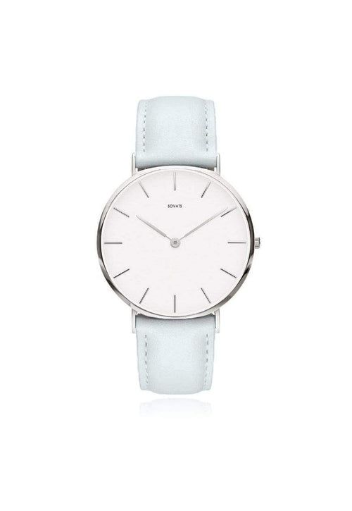 SOVATS WATCH MINIMALIST WATCH GRAY LEATHER / IVORY WHITE