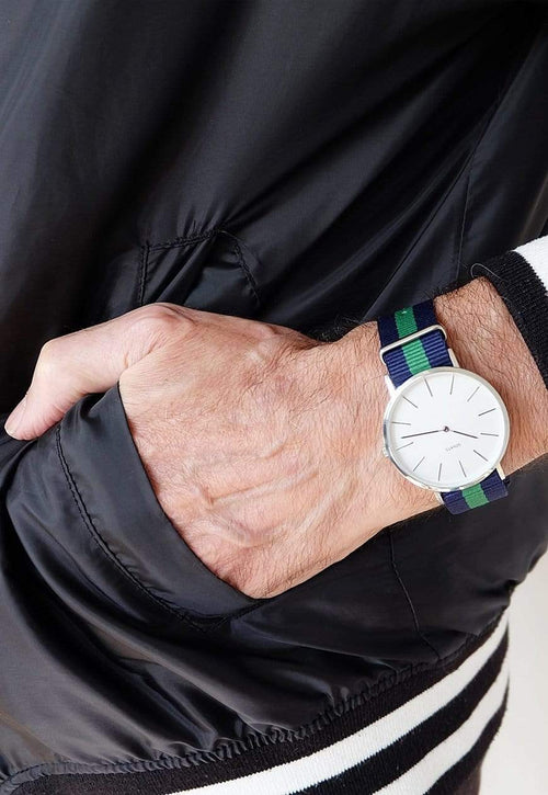 SOVATS WATCH MINIMALIST WATCH GREEN NATO / IVORY WHITE