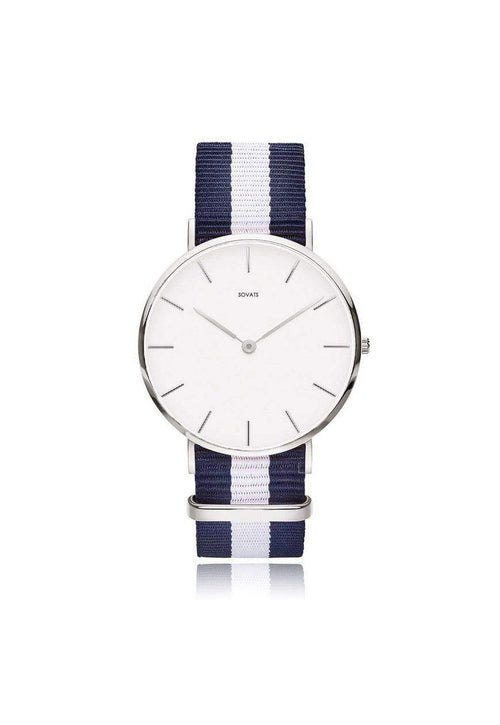 SOVATS WATCH MINIMALIST WATCH NAVY NATO / IVORY WHITE
