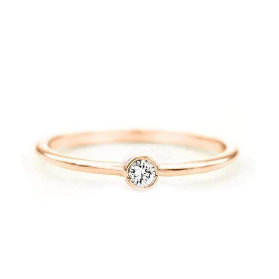 Round Diamond Ring (14k Rose Gold) - SOVATS