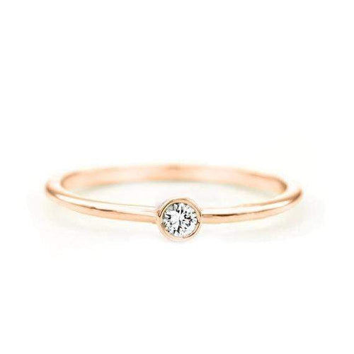SOVATS GOLD Round Diamond Ring (14k Rose Gold)
