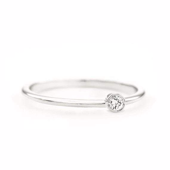 Round Diamond Ring (14k White Gold) - SOVATS