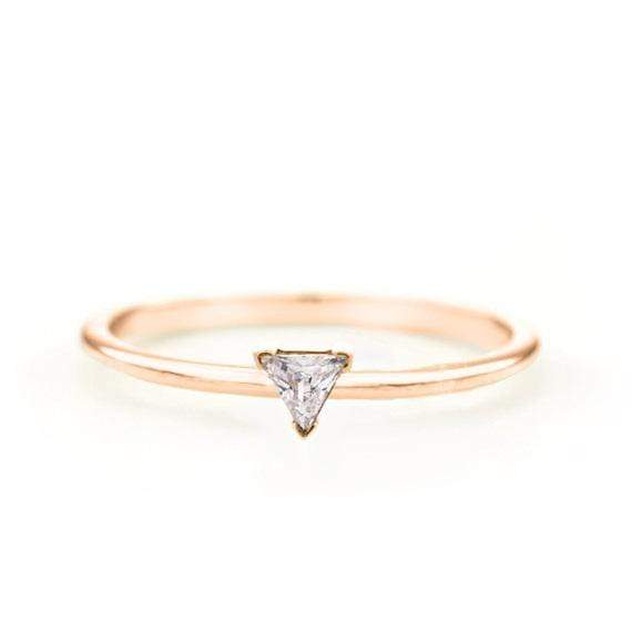 Trillion Diamond Ring (14k Rose Gold) - SOVATS