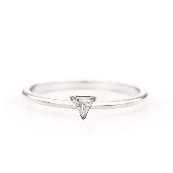 Trillion Diamond Ring (14k White Gold) - SOVATS
