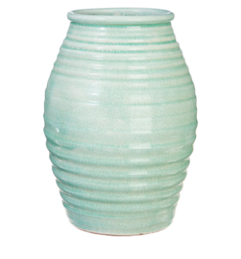 Green Crackle Vase - 12.5""