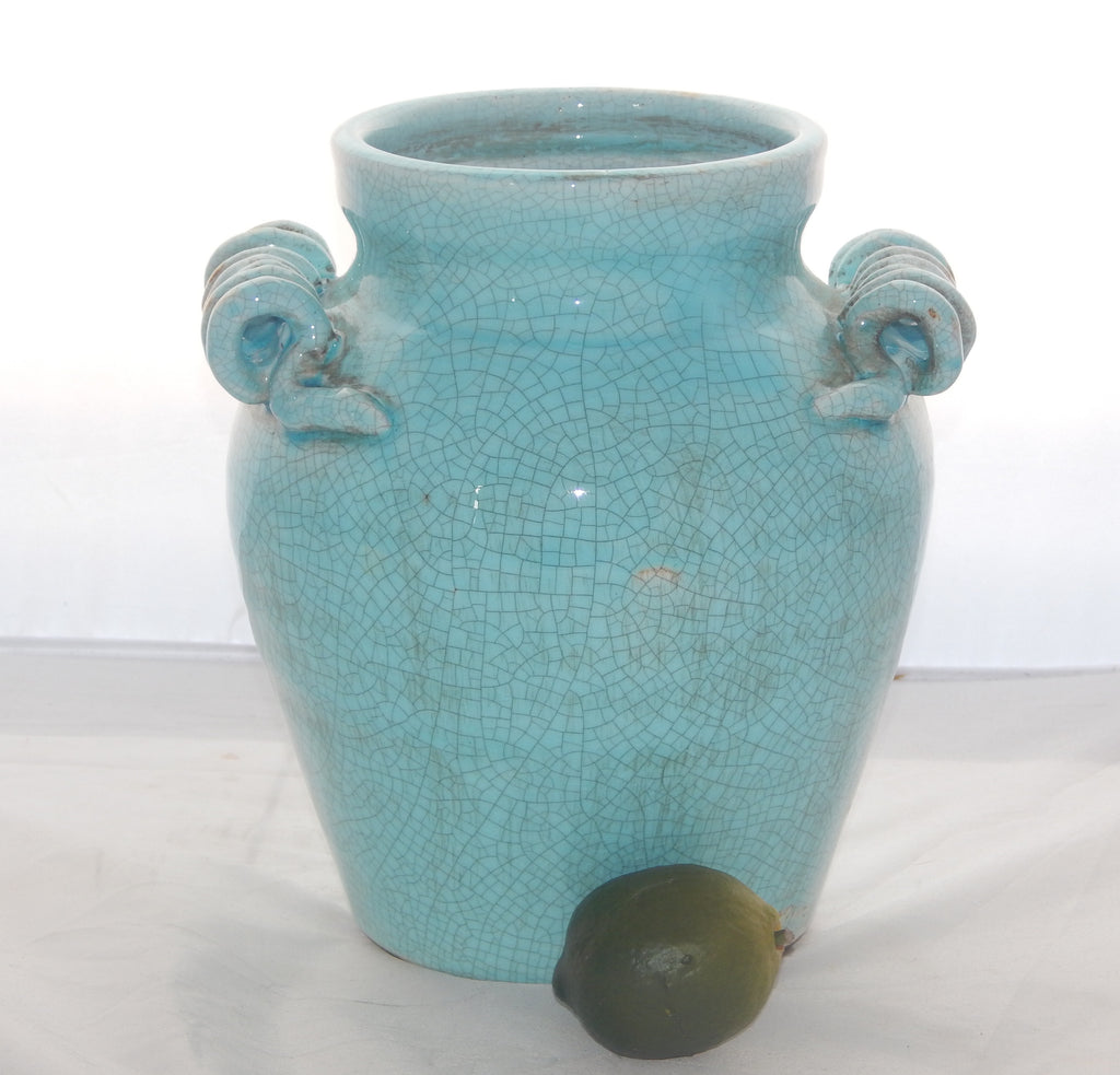 Turquoise Hand Thrown Jar w/ Handles