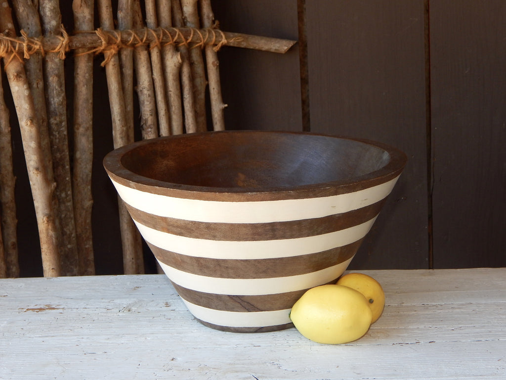 Williamsburg Striped Wooden Bowl