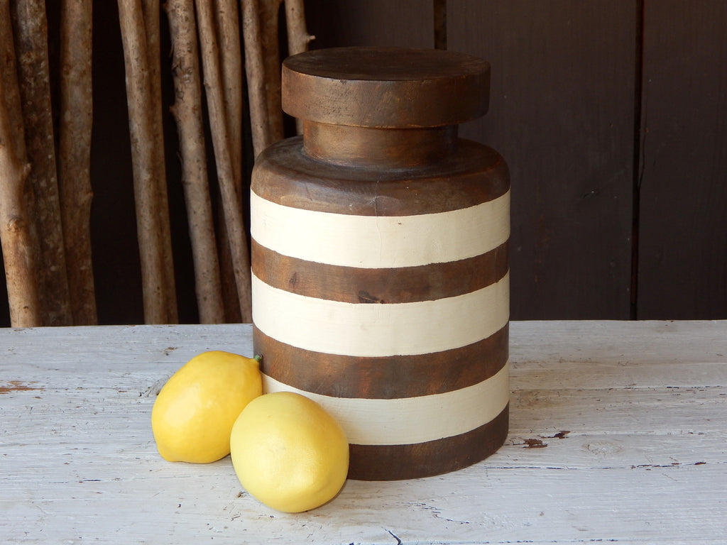 Williamsburg Striped Wooden Pantry Canister - Small