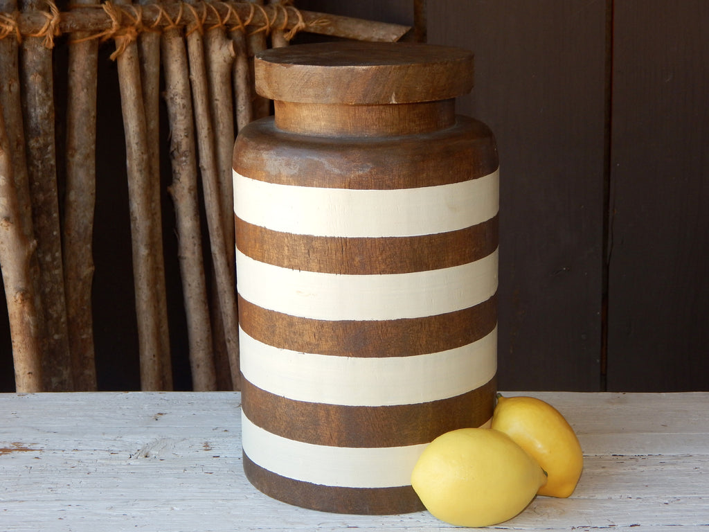 Williamsburg Striped Wooden Pantry Canister - Large