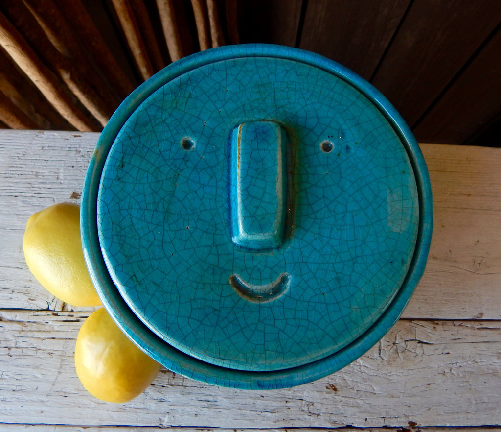 Turquoise Lidded Face Jar - Small